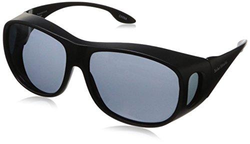 Solarshield Umhang 'fits-over' (Brille) oder tragen allein Sonnenbrille mit schwarzem Rahmen & Grau polarisiert Objektiv mit weichem Fall.