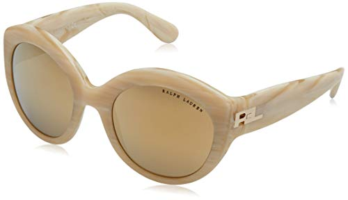 Ralph Lauren Damen 0Rl8159 53057P 53 Sonnenbrille, Braun (Cream Horn Vintage Effect/Mirror Gold Brown)