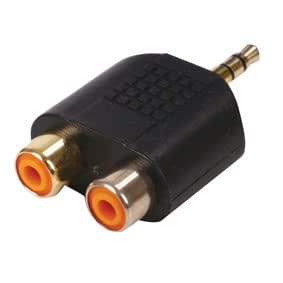 3.5mm Stereo Jack Plug to Twin RCA Socket Splitter - Adapter - RCAx2 - Audio - 24k Gold - Phono - Oxygen Free Copper (OFC) - Left & Right Audio