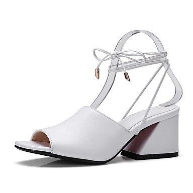 LvYuan Sandali-Ufficio e lavoro Formale Casual-Alla schiava Club Shoes-Quadrato-Pelle-Nero Rosso Bianco White