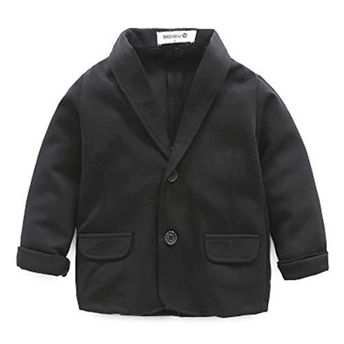 FAIRYRAIN Mädchen Kinder Jungen V-Ausschnitt Langarm Anzug Blazer Jacke Coat Suit Outerwear Anzüge Jujutsu Anzug Kinder Jungen Anzug Anzug kostüm, Schwarz, 2-3 Jahre(90)