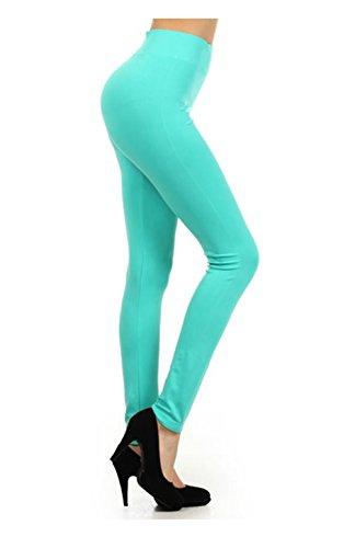 NYfashion101 einfarbigen nahtlosen Leggings mit hohen Bund (Plusgröße auch verfügbar) Mintgrün