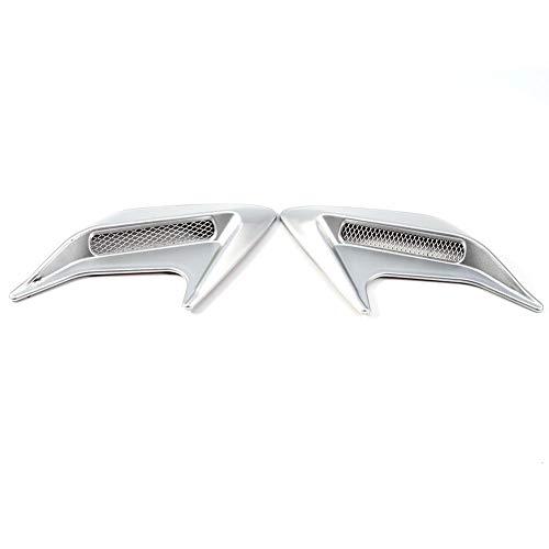 Qiilu 2x Auto Dekorative Luftschaufel Flow Intake Hood Vent Motorhaube Universal DIY Stil(Silber) - Vent Hood