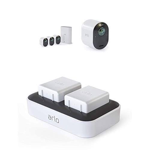 Arlo Ultra Vms5440 Sistema di Videosorveglianza Wi-Fi con 4 Telecamere di Sicurezza 4K, Audio 2 Vie + VMA5400C-100EUS Stazione di Ricarica Doppia per Batterie Ricaricabili