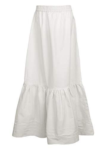 Mittelalter Rock/Unterrock aus Baumwolle in weiß/Natur - Mittelalter Kleidung LARP Wikinger Mittelalter Kleid (L/XL, (Kostüm Karneval Natur)