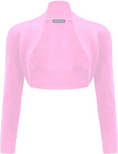 Les femmes Janisramone coton uni nervurés top à manches longues boléro haussement Baby Pink