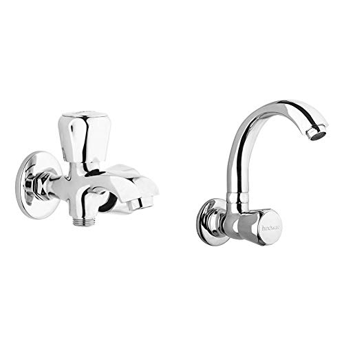Hindware F100004QT Contessa 2 in 1 Bib Tap with Wall Flange + Hindware F330024CP Sink Cock with Swivel Casted Spout