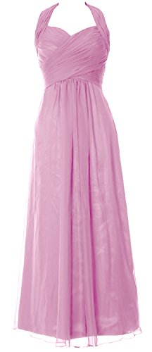 MACloth Women Halter Pleated Chiffon Long Prom Dress Wedding Party Formal Gown Rosa