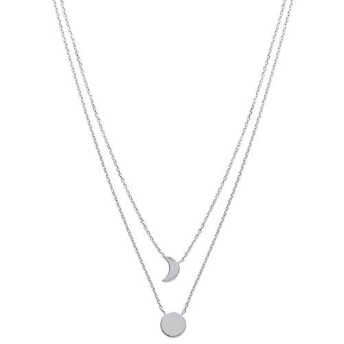 Halskette Kette 2Reihen aus Sterling-Silber 925/000rhodiniert-Anhänger Sonne und Mond-Festplatte und wachsende-40cm