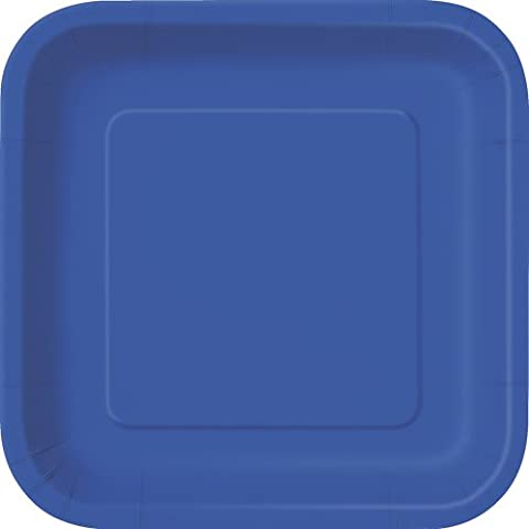 23cm Square Royal Blue Party Plates, Pack of 14