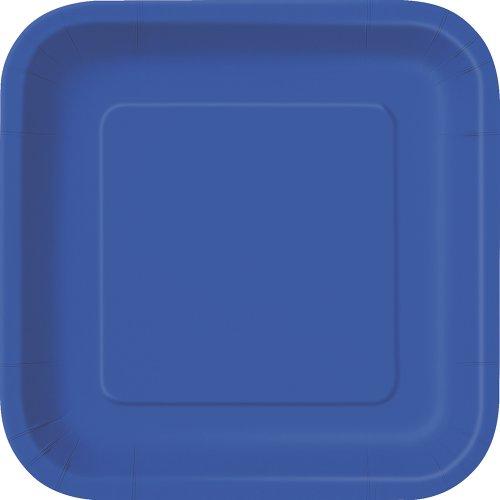 Unique Party - 31495 - Paquet de 16 Assiettes Carrées en Carton - 18 cm - Bleu Roi