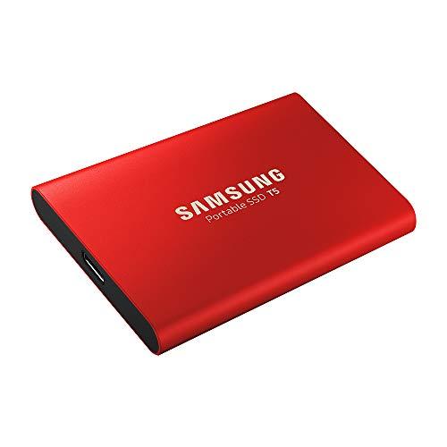 Samsung T5 MU-PA500R/EU SSD Tragbar 500GB, USB 3.1 Type-C, Bis zu 540 MB/s, Metallic Rot
