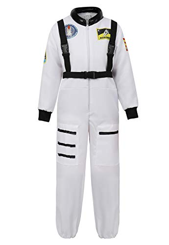 Children's Astronaut Costume Jumpsuit Dress up Role Play Costume for Kids Boys Girls Pretend Play Spaceman Suit Set White-2XL