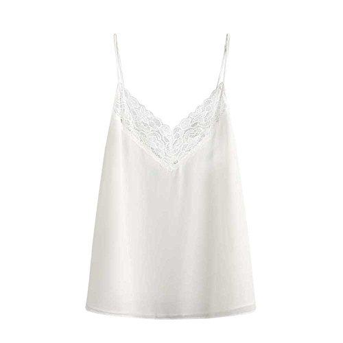 Levifun Mujeres Crop Tank Top Camisoles Encaje Sólido Casual Sin Mangas Camis Blusa Sudadera LiquidacióN (L, Blanco)