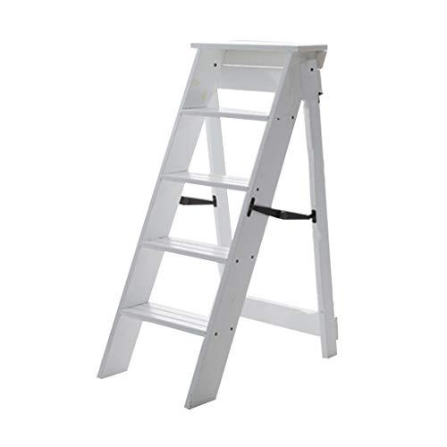Blumentreppen Hauptholz-faltende Leiter-Innenverdickungs-Leiter-Leiter-Fünf-Schritt-Leiter Hauptdachboden Multifunktionskleine Treppe Tragfähigkeit 150kg
