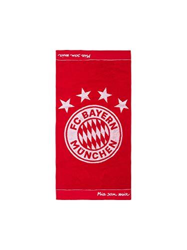 FC Bayern München Duschtuch Emblem, Handtuch rot mit weißem FCB Logo