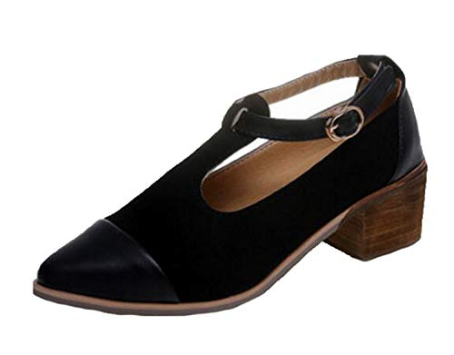 Casual T Strap Buckle Pumps Cut-Out Leather Thick Mid Heels Pointed Toe Vintage Womens Shoes de Mujer Black 5