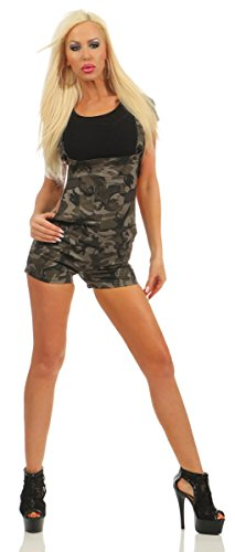 4843 Fashion4Young Damen Latzhose Hotpants Shorts kurze Hose m. Trägern Hot Pants Camouflage (camouflage, S-36)