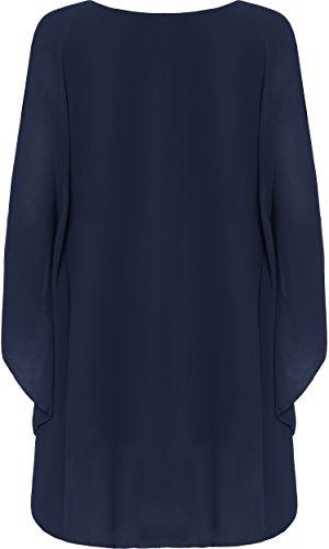 WEARALL Femmes Plus Mousseline De Soie Collier Haut Dames Bouffant Énorme Doublé Longueue Manche - 44-58 Bleu Marin