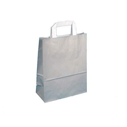 250 Sacs en Papier sacs papier Sacs cadeaux sacs papier gris béton avec flachhenkel Blanc 32 + 12 x 40 cm 80 g/m²