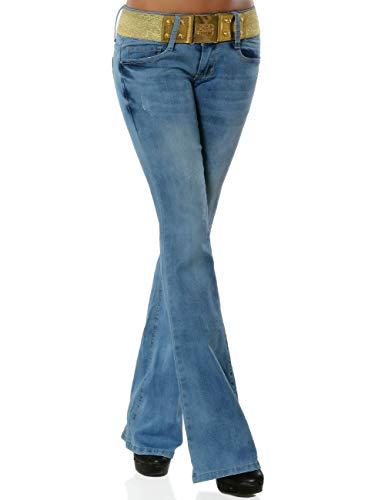Damen Boot-Cut Jeans Hose mit Gürtel DA 15980 Farbe Blau Größe M / 38