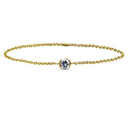 Or Jaune 9 ct Bracelet Diamant en forme de rond, 0.1 Ct Diamant, GH-SI, 1.71 grammes.