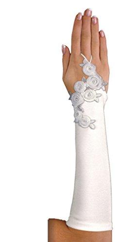 Brauthandschuhe Handschuhe Armstulpen Hochzeit Blüten Strass fingerlos, A134 30cm ivory