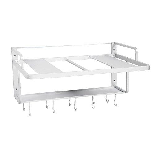 Cocoarm Raum Aluminium Mikrowellen Rack Doppelschichten Mikrowellen Ofen Gestell Stand Küchen Speicher Regal Organisator hängen mit Haken