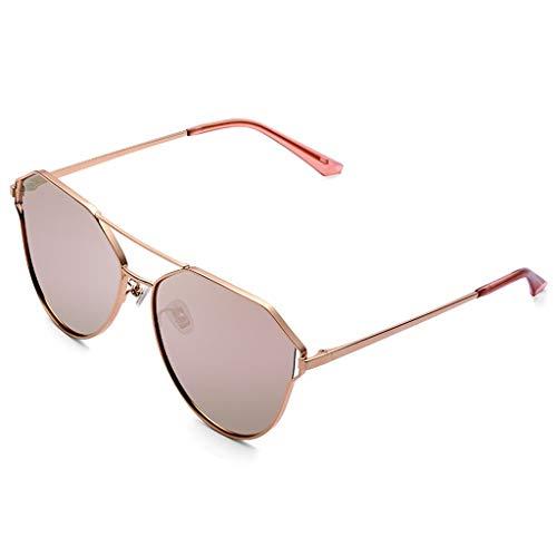 SUNGLASSES Trendy Sonnenbrillen für Frauen Zubehör Fall UV400 Schutz Metallrahmen Rosa Ideal für das Fahren oder Stadtgehen (Farbe : A)