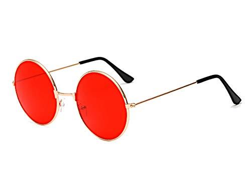 CHICNET Hochwertige Damen Herren Sonnenbrille Rundglas Hippie John-Lennon Brille 400UV rund, runde Gläser, langer Steg, aus Metall und Acryl, verspiegelt und getönt (rot gold) Rote Gläser