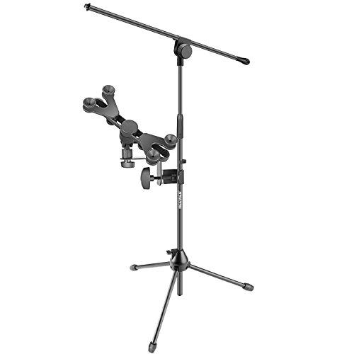 Neewer Mikrofonständer mit Ausleger Galgen und 6-11 Zoll justierbarer iPad Tablet Halter Montagehalterung für Stadium oder Studio Gebrauch, faltbare stabile Aluminiumlegierungs Konstruktion