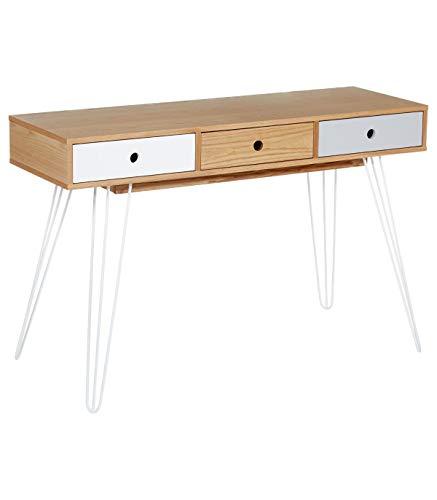 SENLUOWX Table Console Coiffeuse avec Trois tiroirs Blancs