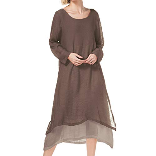 Mxssi Women's Round Collar Five-Point Sleeve Dress Fashion Double-Layer Fake Two Pieces Dress Casual Loose Solid Color Long Dress Plus Sizes 3 Colors