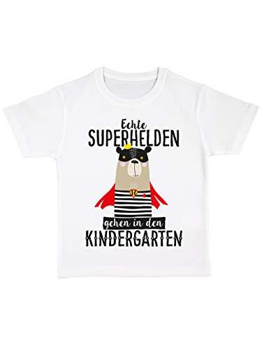 clothinx Kinder T-Shirt Bio Kindergartenstart Echte Superhelden Gehen in den Kindergarten Weiß Größe 92 -