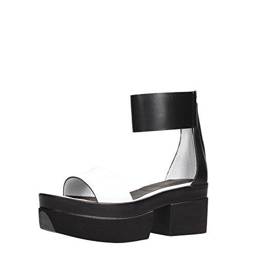 Cult CLE102487 Sandalo Donna Pelle Bianco/nero Bianco/Nero
