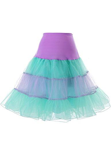 Dresstells 1950 Petticoat Reifrock Unterrock Petticoat Underskirt Crinoline für Rockabilly Kleid Lavender-Mint ()