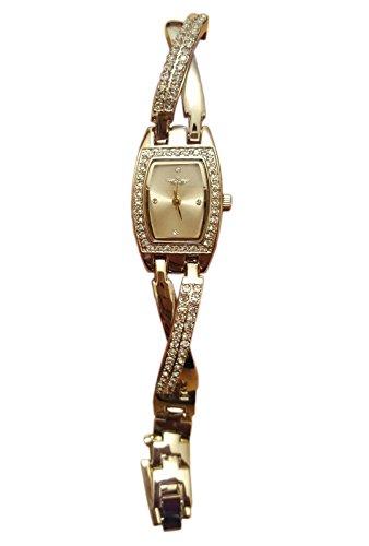 Softech Damen Gold vergoldet Diamante überqueren Strap Jeweled Bracelet Watch Analog Quarz zusätzlichen Akku