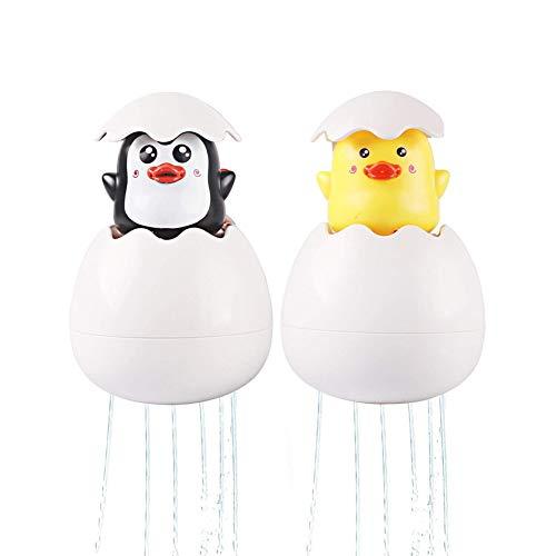2 Pack Baby-Badespielzeug, Egg Spray Floating Bath Squirt Spielzeug Pinguin und Ente, Badezimmer Pool Bad Zeit Dusche Geschenk für Kinder Kleinkind Baby Jungen Mädchen