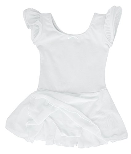 zarm Ballettkleid aus Baumwolle mit Flügelärmeln 116/122 Weiß (Schlichte Weiße Halloween-kleid)
