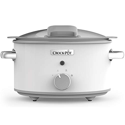 Crock-Pot DuraCeramic CSC038X Olla de cocción lenta manual 4,5 l, Acero Inoxidable, Blanco