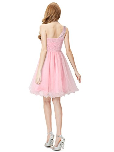 Ever Pretty Robe de cocktail au genou orn¨¦e des diamants avec une ¨¦paule 05032 Rose