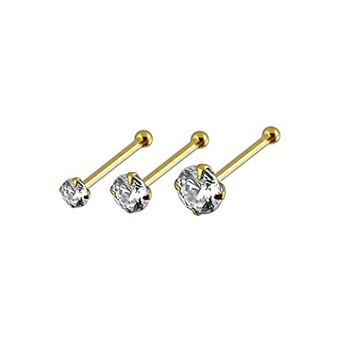 3 Stück Packung mit 14ct Solid gelb Gold Claw Set CZ Stein 22 Gauge Ball Ende Nase Pin Nose Stud