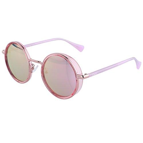 DUCO Vintage Steampunk Style Runde Sonnenbrille Spiegelglas mit Metallrahmen und Seitenschilder UV400 Schutz W004 (Rosa)