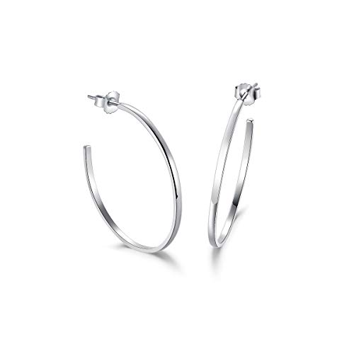 Große Creolen Offene Halbe Ohrringe Flach für Damen 925 Sterling Silber - Durchmesser 36 mm