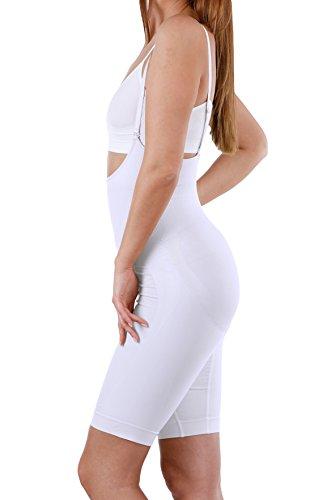 Figurformender Bodysuit, Seamless Shapewear Body mit Bein, Einteiliger Körperformer Weiß