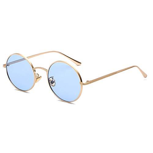 Inlefen Sonnenbrille Männer Frauen Runde Retro Vintage Kreis Stil Sonnenbrille Farbige Metallrahmen Brillen Gold blau