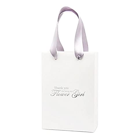 Thank You For Being My Flower Girl Gift Bag Wedding Gift Bag (White\Silver)