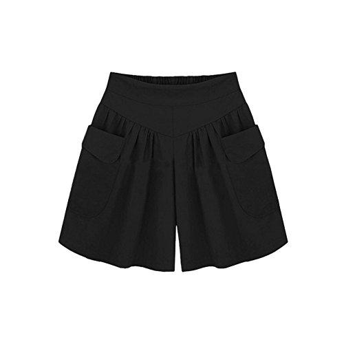 semen Damen Sommer Shorts Baumwoll Kurz Hose Elastisch Bund Übergröße Freizeit LoseCasual Wide Leg Shorts Einfarbig Hot Sporthosen Elegant Hohe Taille Pants (Bermuda Leg Wide)