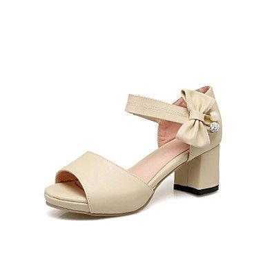 LvYuan Damen-Sandalen-Outddor Kleid Lässig-Kunstleder-Blockabsatz-Komfort Neuheit Club-Schuhe-Schwarz Rosa Weiß Beige Beige
