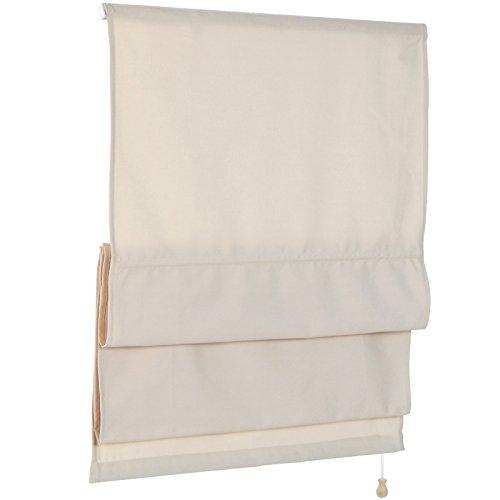 Raffrollos in weiß oder beige Raffgardine Faltrollo Rollo Fenster Gardine Blickdicht Faltvorhang in sechs verschiedenen Größen